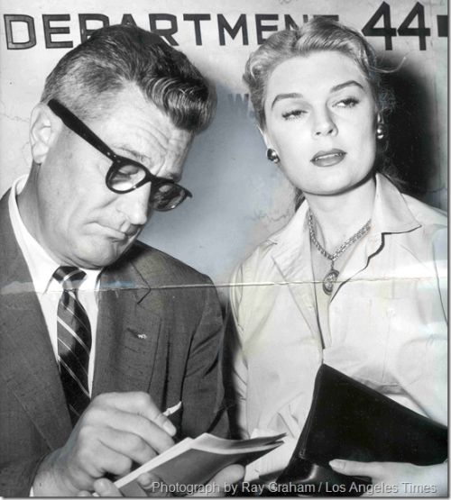 Lynn Baggett with lawyer, 1954. Photo by Ray Graham, Los Angeles Times