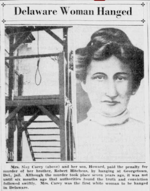 May Carey, Executed in 1935 in Delaware with her son.